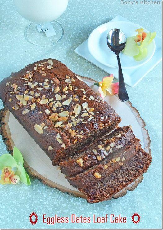 Eggless Dates cake–Dates loaf cake recipe