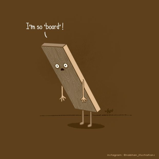 bored 620x620 Amusing Puns in Illustrations by Nabhan Abdullatif