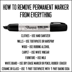Handy tips on how to remove permanent marker from almost anything.