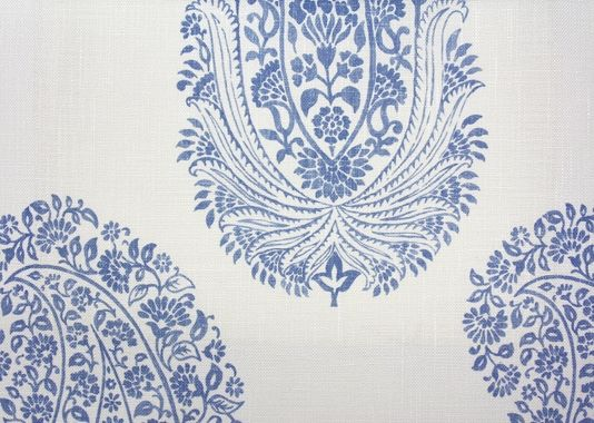 Paisley Printed Fabric A large paisley design printed fabric in denim.