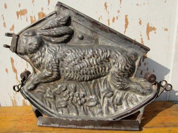 Fantastic Large RARE Running Bunny Rabbit Rocker Antique Chocolate Mold | eBay $795