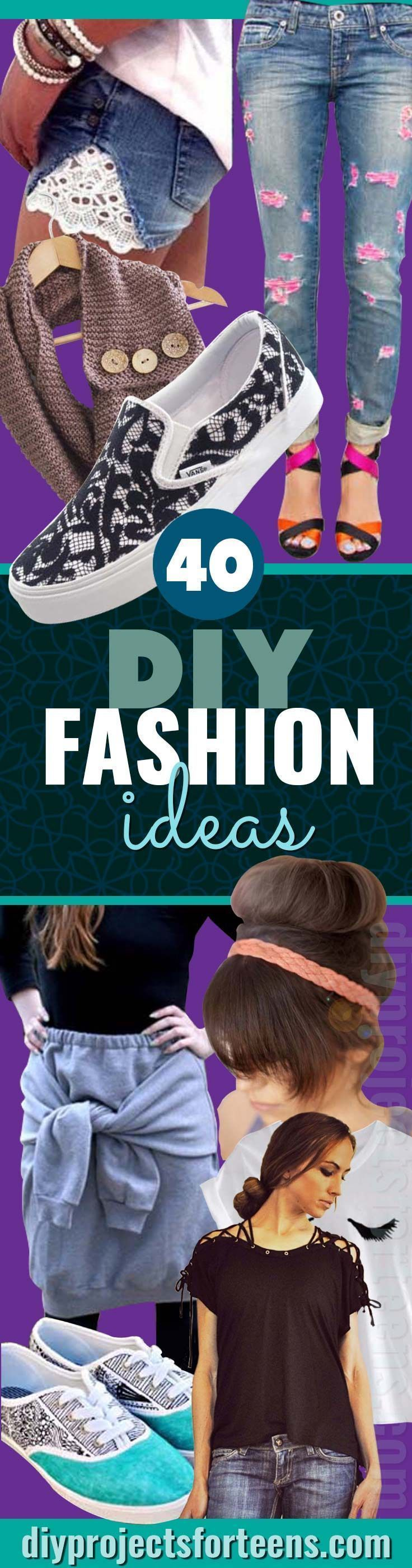 DIY Fashion Projects For Teens - Cool Homemade Clothes Tutorials for Fun Things To Wear. T Shirts, Skirts, Shoes, Shorts, Jeans http://diyprojectsforteens.com/cool-diy-fashion-ideas/
