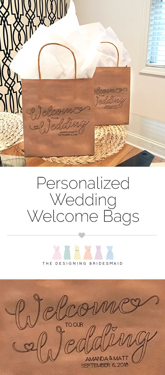 Welcome out of town guests to your special celebration the personal way! These adorable wedding welcome bags feature an adorable font with heart accents, as well as the couple's names and wedding date. Fill it with snacks and goodies so your traveling guests feel at home. #weddingideas #weddingplanning | Personalized Wedding Welcome Bags from #TheDesigningBridesmaid Rachael Wilson