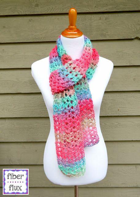 Island Lace Scarf, free crochet pattern from Fiber Flux