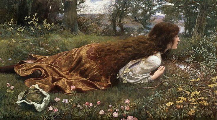 Эдвард Роберт Хьюз. Сумерки Фантазии. 1901. (Edward Robert Hughes. The princess out of school. National Gallery of Victoria Melbourne)