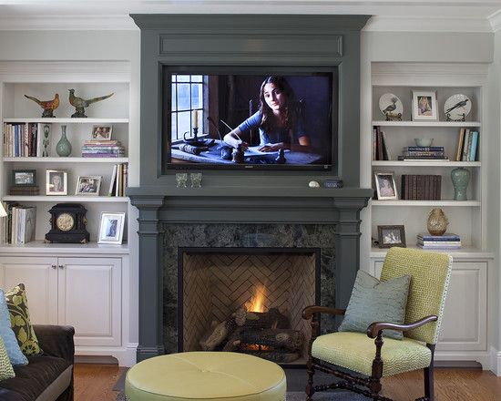ive always herd you shouldnt put a tv on top of a real fireplace as you are cluttering the focus points of the room... however with the new flat screens id say this rule is as out  dated as NOT wearing white after labor day. Beautifully done!