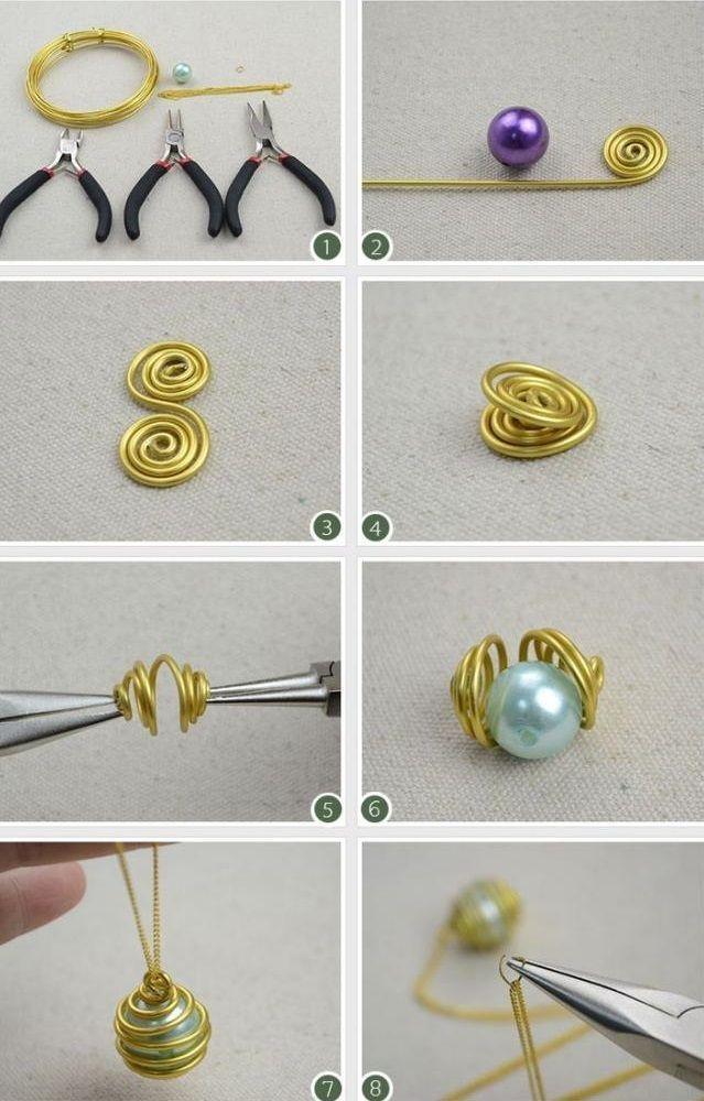 Eine Perle, goldener Aluminiumdraht und eine Kette – das sind die Dinge …