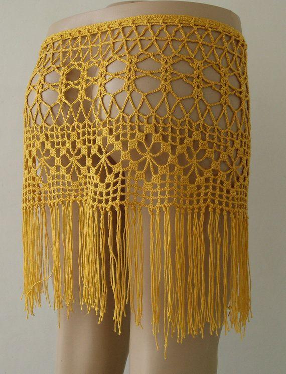 EXPRESS CARGO Yellow Color crochet skirt crochet by formalhouse