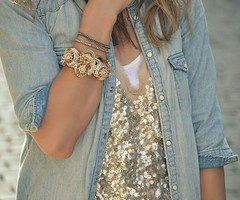 love the glitterFashion, Style, Jeans Jackets, Chambray Shirts, Outfit, Denim Shirts, Gold Sequins, Buttons, Sequins Tops