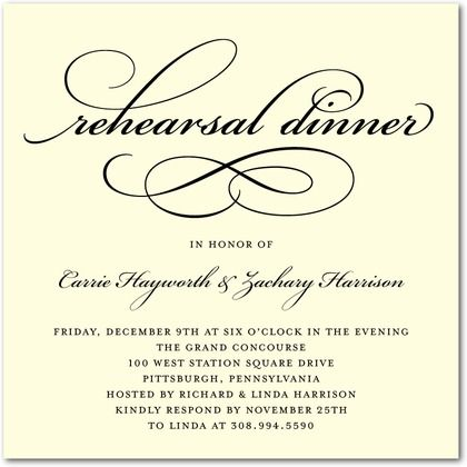 Signature Ecru Rehearsal Dinner Invitations Timeless Calligraphy - Front : Black