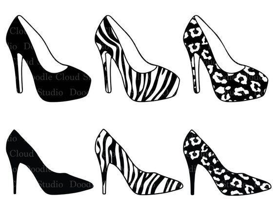 Women S High Heel Shoes Svg Files For Silhouette Cameo And Etsy In 2020 Zebra Shoes Womens Shoes High Heels Womens High Heels