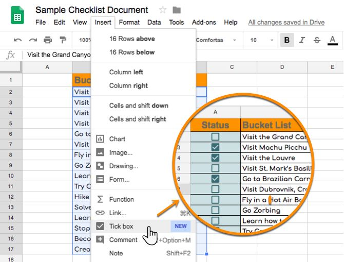 How to Insert a Checkbox in Google Sheets - google spreadsheet budget