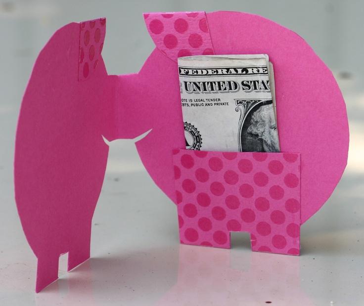This Little Piggy pink polka dot money card, graduation, birthday, farm animal, fat pig, pocket, girl. $3.00, via Etsy.