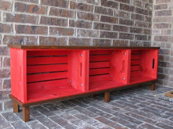 banco caja bricolaje, muebles de bricolaje, al aire libre, muebles pintados, porches, upcycling reutilización
