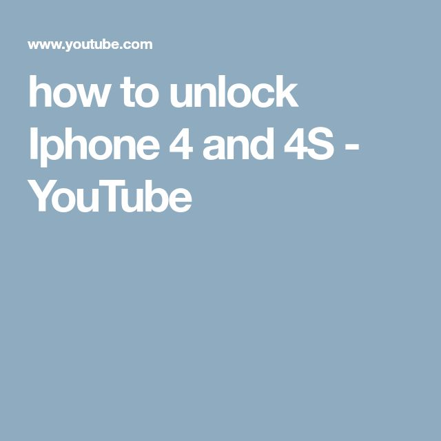 how to unlock Iphone 4 and 4S - YouTube