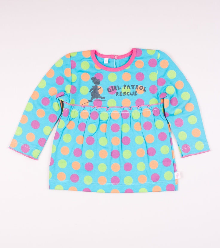 T-shirt with long sleeves. Made of 100% cotton. Pattern with big, color dots . Printed design on front.