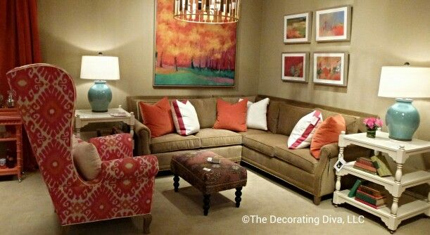 Cozy & eclectic living room dressed in @C R Laine Furniture upholstery & accessorized w/ pretty tables by The Gilded Stag #hpmkt  High Point fall 2013 market.