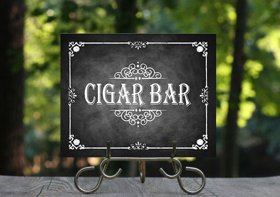 Chalkboard Wedding Cigar Bar Sign for Cigar Bars, Smoking Areas, and Bachelor parties! This classically styled poster was designed to capture