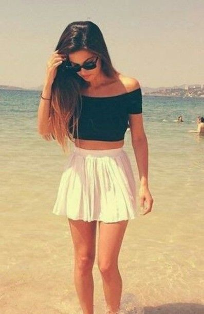 dress blouse crop tops off the shoulder black top skirt white