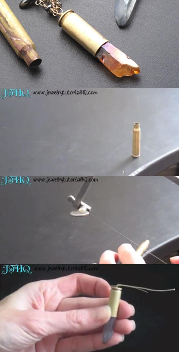 DIY Bullet Shell Pendants. My husband would think these are cool. Hmm..next time we go shooting, I may just pick up a few.