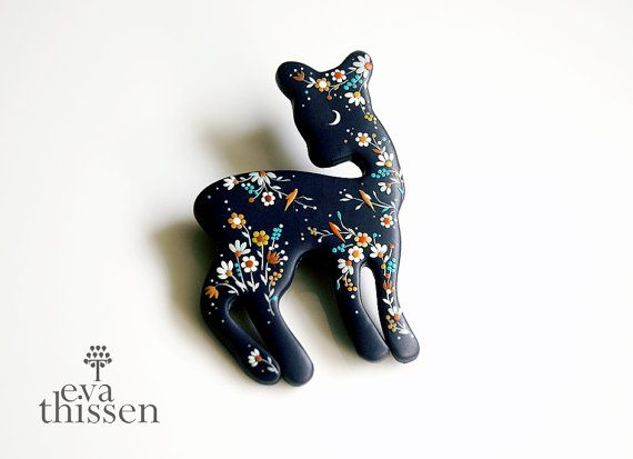 RESERVED for Kylli. Deer Brooch. One of a kind artwork. Tales from the Woods and the Sea.