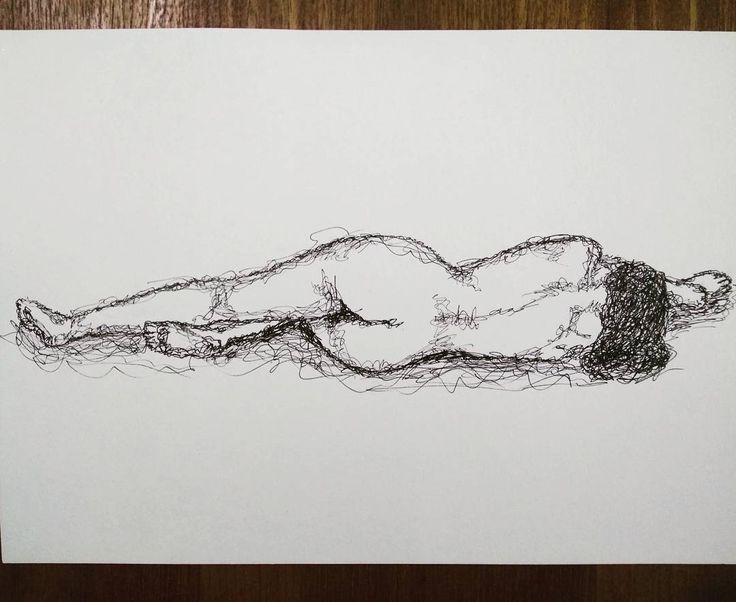 'Female Form' - using pen scribbles. . .  #pen #pendrawing #pensketch #ink #inkdrawing #inksketch #scribble #nude #figure
