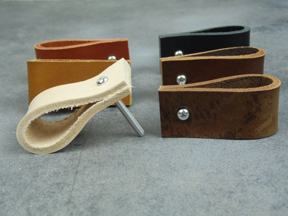 Genuine Leather Drawer Pulls / Leather Drawer Pulls by BengjyMinu
