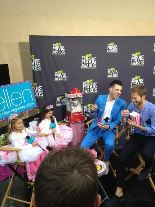 "Zachary Quinto and Chris Pine interviewed by Sophia Grace and Rosie at the MTV Movie Awards for the Ellen Degeneres Show. This interview was SO CUTE!! ""Our Moms thought Chris Pine and his friend were very hot!"" ""Like hot green chili's!"""
