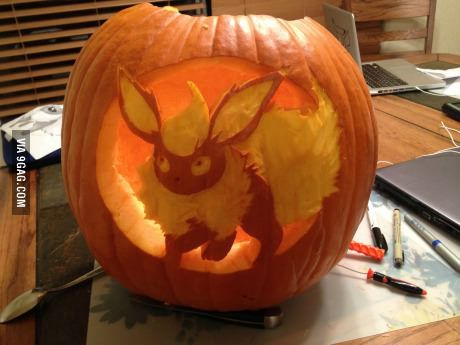 I carved a Flareon pumpkin!