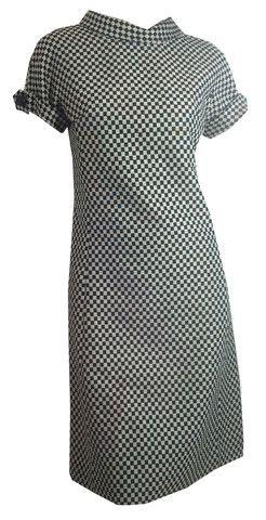 Mega Mod Black and White Checked Dress circa 1960s David Smith - Dorothea's Closet Vintage