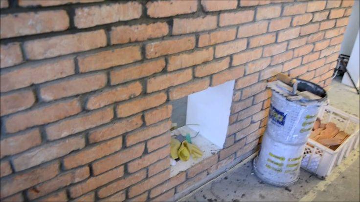 Cz.2-Ściana z surowej cegły ,imitacja ściany z cegły bez tynku w bloku z...