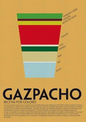Receta por colores - Gazpacho Andaluz. Muy chulo!