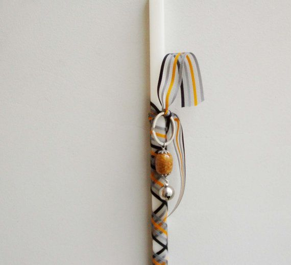Greek Easter candle with silver bell key by ArktosCollectibles