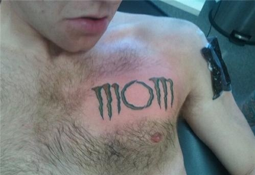 a tattoo of the word mom in the monster energy drink font