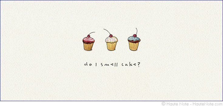 Gatherings - Cupcakes - Do I Smell Cake - Personalize your own stationery with a name, message or invitation. Sold in boxed sets of 8 cards. hautenote.com