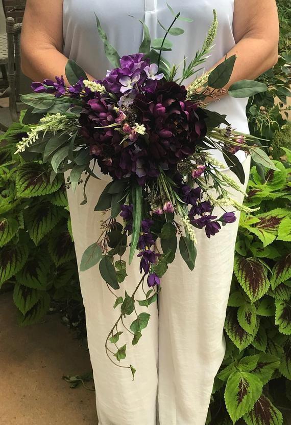 Shades Of Purple Cascading Silk Bridal Bouquet Purple Cascading