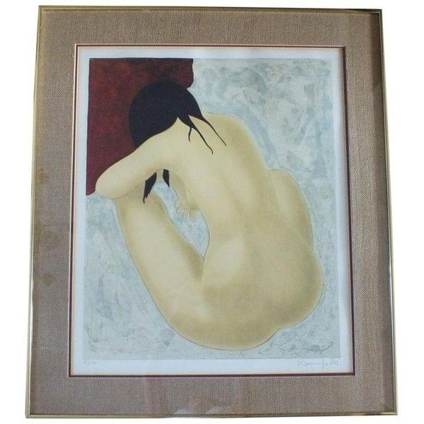 Alain Bonnefoit Seated Nude Lithograph, Framed ($405) ❤ liked on Polyvore featuring home, home decor, wall art, prints, signed lithograph, framed wall art and woven wall art