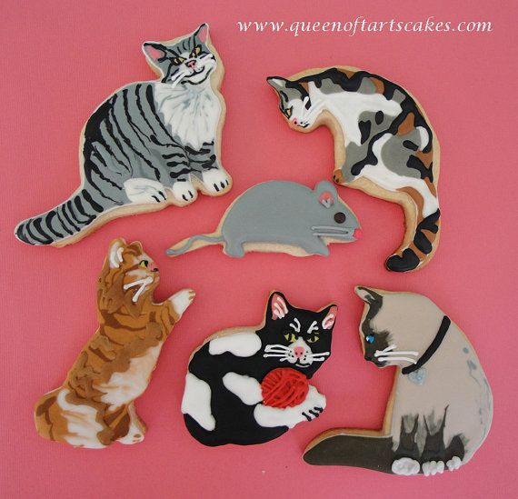 Cat cookies using our various cat cookie cutters.