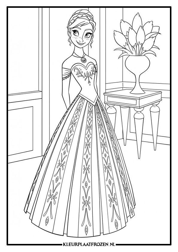 Kleurplaten Elsa Anna.Kleurplaat Frozen Anna Disney Characters Frozen Coloring Pages