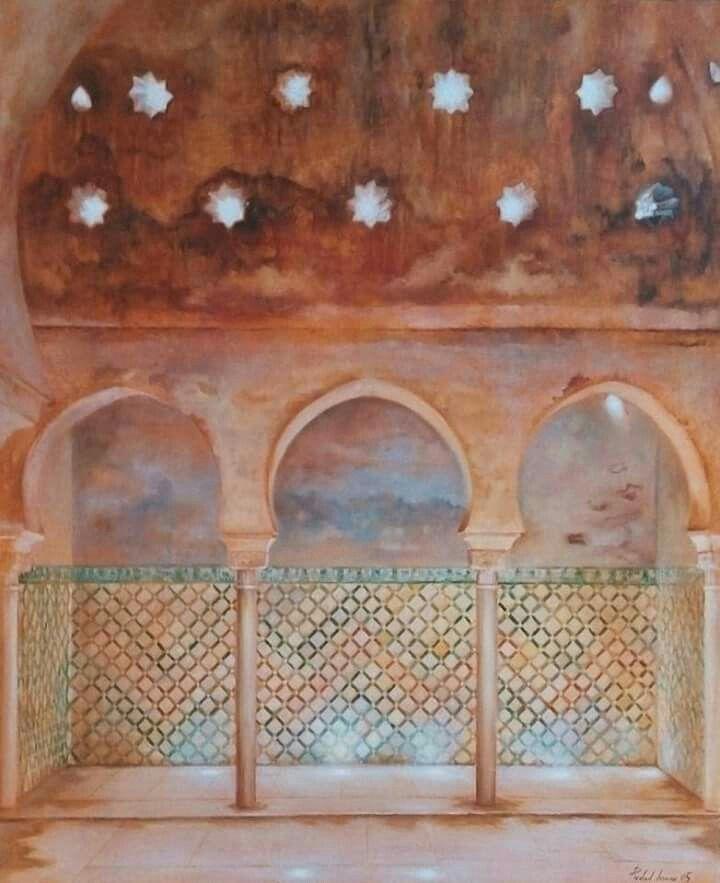 """Baños de la Alhambra"" Óleo sobre lino, 73x60 cm"
