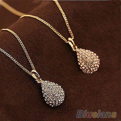 Womens Gold/Silver Plated Crystal Teardrop Waterdrop Necklace Shiny Pendant BD4U[Gold]