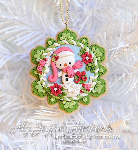 Handcrafted Polymer Clay Christmas Snowman Scene Ornament