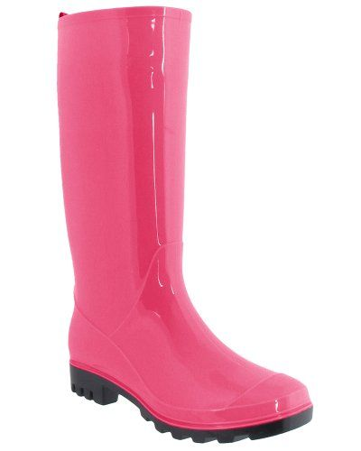 Pink Rain Boots for Rainy Days Capelli New York Ladies Shiny Solid Opaque Jelly Rain Boot are made from quality rubber materials to keep your feet dry and warm to brighten the soggiest days of the year.