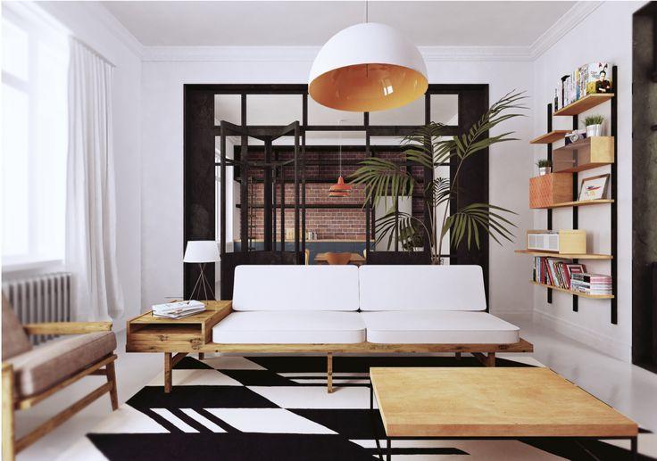 interior design, danish modern, steel door,
