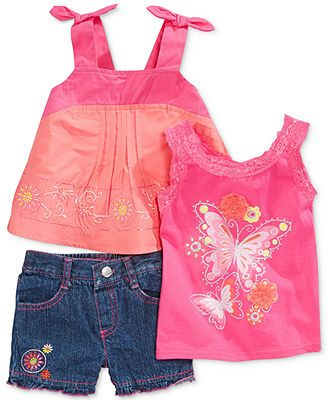 Nannette Baby Girls  3-Piece Tanks   Shorts Set 542da3c178c