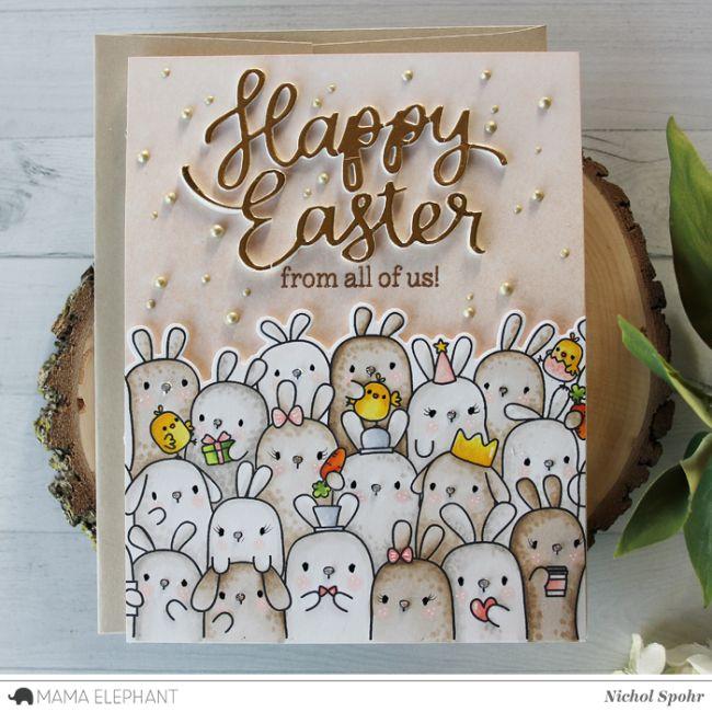 Mama Elephant   The Bunny's Hop (Easter Card)
