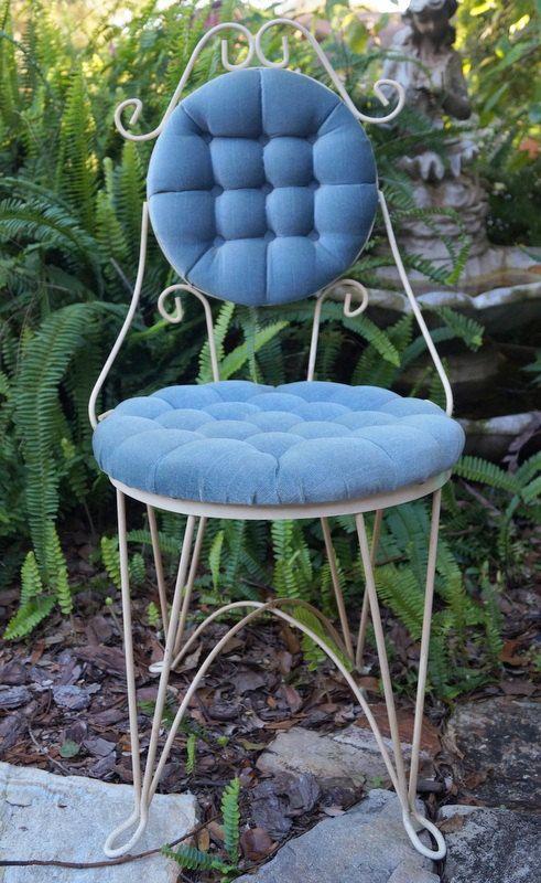 Vintage Iron Vanity Chair Aqua Blue Shabby Chic Weddings Photo Prop Home Decor Ice Cream Parlor
