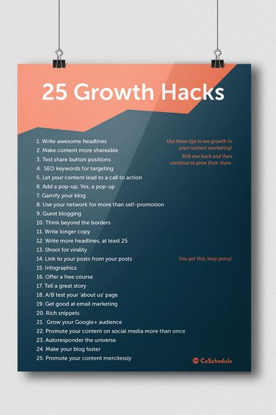 Using growth hacks in your content marketing is the best way to explode audience, traffic, and viral growth. Here are 25 ways to do it right.
