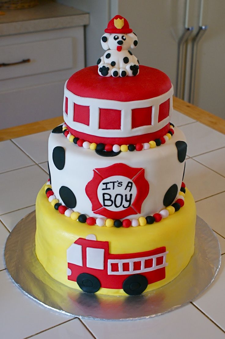 Firefighter-Themed Baby Shower Cake | Shared by LION