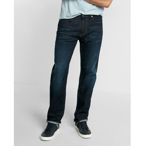 Express Loose Straight Stretch Jeans ($80) ❤ liked on Polyvore featuring men's fashion, men's clothing, men's jeans, blue, mens stretch jeans, mens wide leg jeans, mens super skinny stretch jeans, mens loose fit jeans and mens stretchy jeans